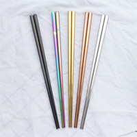 Chopstick 304 Edelstahl Chopstick Mi Chopstick Quadrat glänzendes Silber Gold Rose Gold Black Rainbow Großhandel
