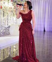 Sparkling Borgogna Paillettes Abiti da sera pizzo 2019 con yousef aljasmi Labourjoisie Dubai Medio Oriente Abiti da party Abiti da festa Prom