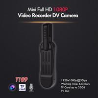 كامل hd البسيطة dv جيب الجسم كاميرا مع كليب مصغرة القلم كاميرا فيديو مسجل فيديو كاميرا مصغرة كاميرا فيديو تلفزيون خارج الأسود T189 دروبشيبينغ