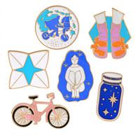 귀여운 만화 자전거 동물 금속 가와이이 에나멜 핀 배지 버튼 브로치 셔츠 데님 자켓 여성 여자를위한 가방 장식 브로치를