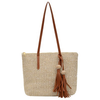 Women Simple Straw Handbag Shoulder Bag Tassels Tote Summer ...