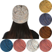 Mulheres malha Beanie Hat 26 cores quentes macio estiramento cabo de malha de inverno Crânio Beanie 30pcs OOA3836