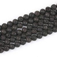 Branelli di pietra nera di pietra di lava in pietra naturale rotonda perline allentati adatto per il braccialetto Braccialetto gioielli fai da te che fa accessori di charms in 45 tagliandi / lotto