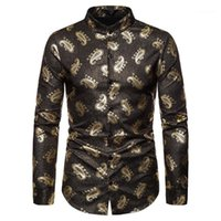 Homme toppt Paisley-Druck-Männer Designer-Hemd Luxuxgold Mens beiläufige Kleidung Mode Stile