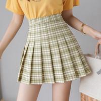 Uniformes escolares estilo nuevo verano de la falda de cintura alta Mujeres falda de tela escocesa de muy buen gusto de moda de Harajuku plisada falda de la danza XS-XXL
