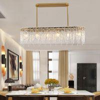 DHL / UPS / Fedex 2020 Schöne Luxus-Design rechteckigen Kronleuchter LED-Lampe AC110V 220V Glas Esszimmer Wohnzimmer Hängeleuchten