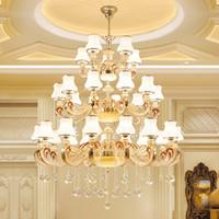 Yüksek kalite lüks villa otel için büyük çinko alaşım kristal avizeler aydınlatma lobi merdiven led kolye lamba kristal avize ışıkları