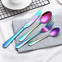 4Piece / مجموعة لون الذهب الفولاذ المقاوم للصدأ أواني مجموعات أدوات المائدة ملعقة سكين شوكة ملعقة صغيرة مجموعة غير القابل للصدأ أدوات المائدة أدوات المائدة مجموعة FFA3406