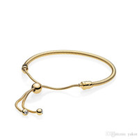 NEW 18K Yellow Gold Snake Chain Bracelet Set Original Box fo...