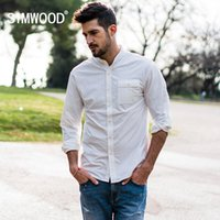 SIMWOOD 2020 primavera Shirts Men gola mandarim Slim Fit Nylon Moda Side Pocket Shirt Male Plus Size roupas de marca 180066