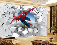 Home Decor 3D Wallpaper Helden Spider-Man kommt durch die Wand HD Digital Printing Moisture Wandpapier
