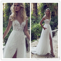 Limor Rosen 2019 Una linea di abiti da sposa in pizzo Illusion Bodice Jewel Court Train Vintage Garden Beach Boho Wedding Party Abiti da sposa