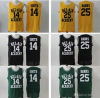Bel-hava akademisi # 14 Taze Prensi Smith Jersey Erkek Ucuz Renk Siyah Yeşil Sarı Bel-Air 25 Carlton Bankalar Basketbol Forması