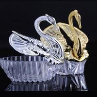 Europäische Stile Acryl Silber Swan Süße Hochzeitsgeschenk Jewely Candy Box Candy Geschenkboxen Hochzeit Gefälligkeiten Halter