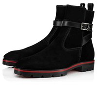 Роскошный конструктор Red Bottom High Top Сапоги для мужчин Обувь Ботильоны Kicko Croc Стиль Black Suede телячьей кожи Элегантные мужские сапоги на низком каблуке