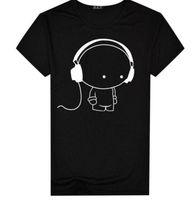 Мужская мужчина с коротким рукавом футболка для наушников мультфильм шаблон печати футболка мода повседневная шея стройная подходит топ мужчины