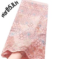 WorthSJLH Peach Dry African Lace Fabric Swiss Voile Lace Hig...