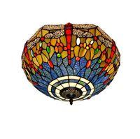 Tiffany lâmpada do teto Laranja azul da libélula Vitral abajur Anqitue Estilo Candelabro por quarto Jantar Sala Quarto Teto ligh