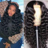 180% Yoğunluk Dantel Frontal Kimyasal Elyaf Saç Peruk Bayanlar Orta Doku Uzun Kıvırcık Saç Doğal Siyah Küçük Hacimli Dalga Hacmi Peruk Seti