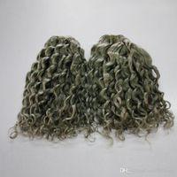 Graue farbe tiefe welle brasilianisches menschenhaar lockiges 300g 7a brasilianisches lockiges graues haar schuss bundles verlängerung