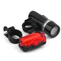 자전거 조명 5 LED 자전거 전면 헤드 라이트 + 테일 라이트 세트 방수 도로 MTB 산 리어 사이클링 램프