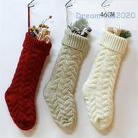 venta caliente de punto Medias de Navidad calcetines de punto de Papá Noel del regalo del caramelo del bolso del árbol de Navidad fuera de la Florida La decoración para el hogar