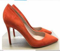 Venda quente-novo tipo de laranja verde-escuro camurça boca rasa 10 cm fundo vermelho das mulheres sapatos de salto alto cúspide salto fino sapatos únicos de dança