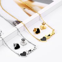 OUFEI Stainless Steel Jewelry Woman 2019 Charm Love Necklace Earrings set Jewelry Accessories Pendant Necklace Mass Effect