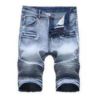Лето New Biker Moto Mens Denim Shorts Мода Плиссированные Zipper Slim Fit Мужские джинсы шорты большого размера