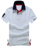US Brand Men' s Solid Polos Big Pony Printed Number 3 on...