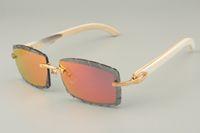 직접 새로운 자연 흰색 앵글 선글라스, 8100915 개 개인 맞춤형 선글라스, 새겨진 렌즈 컬러 렌즈, 크기 : 56-18-140mm 선글라스,