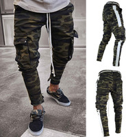 Men' s Casual green camouflage cargo pants men joggers s...