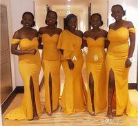 Nueva sirena sexy Vestidos de dama de honor largos africanos africanos del hombro dividido satinado más tamaño criada de vestidos de honor vestido de invitado de boda amarillo