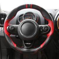 Mão de Costura de Couro Genuíno Cobertura de Volante Do Carro Anti-slip para Mini Cooper S Um Countryman Clubman R60 F60 F54 F55 F56
