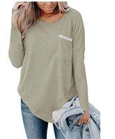 Сыпучие Осень Зима Дизайнер женщин Tshirts Solid Color Printed Crew Neck Карманный дизайн Трикотажные топы Повседневная женская одежда