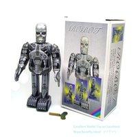 NB Tinplate Retro Wind-Up Terminator Robot, pode andar, Clockwork Toy, ornamento nostálgico, Kid presente de aniversário Menino Xmas, Coleção, MS288, 2-2