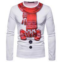 Bianco Natale 3D uomini della maglietta sciarpa Guanti stampa Tee Shirt Harajuku Hip Hop di Natale divertente Slim Fit T superiori