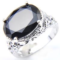 Nieuwe aankomst -6 stuks / partij Unieke Partij Sieraden Oval Black Onyx Crystal Gemstone Rusland 925 Sterling Verzilverd VS Wedding Party Ring