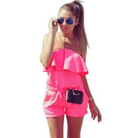 QCQBI Summer Strapless Beach Playsuit Mujer para mujer Patchwork Off the Shoulder Talla grande Short Romper BacklessWomens Jumpsuit