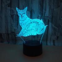 Рождественские 3d прозрачные акриловые лисы светодиодные огни красочные дистанционные сенсорные лампы управления светодиодные маленькие ночные легкие домашние атмосфера декоративная лампа