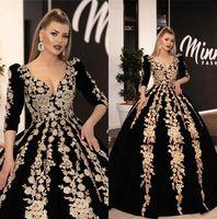 Pizzo applique d'oro arabo vestiti da sera delle lunghe maniche 3/4 increspato A Linea partito convenzionale Prom Dresses Vestidos De festa