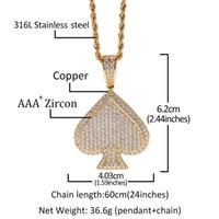 Hiphop completa diamante colar de pingente de Poker luxo de ouro 18K Hip Hop Jóias Bling CZ Mens Coração Colares
