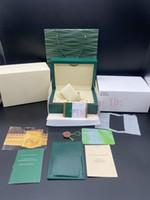 롤렉스 상자 116610 개 시계 박스에 대한 최상의 품질 최신 스타일 브랜드 짙은 녹색 원래 우디 시계 케이스 논문 선물 가죽 가방
