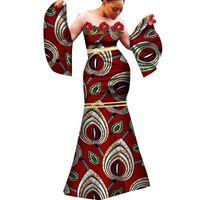 Новая мода африканских женщин платье сексуальное африканское платье белая марля и хлопок продукт воск одежда тонкий длинное платье WY283