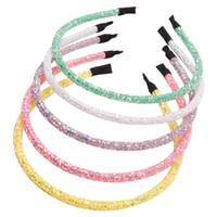 10pcs / Lot Corea del brillo sólido Hairband para niñas mujeres brillante de la manera del color del caramelo de las vendas del pelo de los niños del aro Accesorios para el cabello
