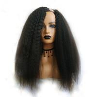 Kinky Düz U Parça Peruk Siyah Kadın Için İnsan Saç Peruk Brezilyalı Remy Saç 150 Yoğunluk İtalyan Yaki Orta
