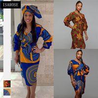 ISAROSE de Dashiki africana vestido de cuello en V con cinturón de Hendidura Rich Imprimir Bazin alta cintura más el tamaño de la oficina de señora Women Daily Ropa