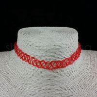 خط أزياء اليدوية خمر قلادة قلادة الهبي تمتد المختنق قلادة المرأة مطاطا الشرير الجرونج القلائد والمجوهرات TTA862