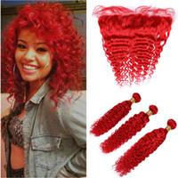 El pelo humano peruano de la Virgen del rojo brillante agita los paquetes de la onda 3pcs con el cierre frontal de 13x4 tramas de la armadura del pelo coloreado rojo con el cordón frontal