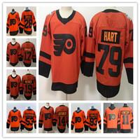 2019 Philadelphia Flyers Stadium Series Hóquei Carter Hart 28 Claude Giroux 17 Mangá Simmonds 53 Gostisbehere Voracek Konecny hóquei Jersey